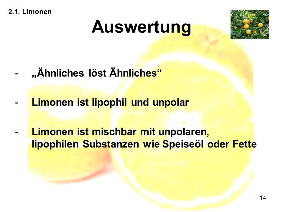 """14 Auswertung 2.1. Limonen -""""Ähnliches löst Ähnliches"""" -Limonen ist lipophil und unpolar -Limonen ist mischbar mit unpolaren, lipophilen Substanzen wi"""