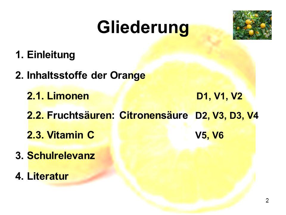 2 Gliederung 1. Einleitung 2. Inhaltsstoffe der Orange 2.1. Limonen D1, V1, V2 2.2. Fruchtsäuren: Citronensäure D2, V3, D3, V4 2.3. Vitamin C V5, V6 3