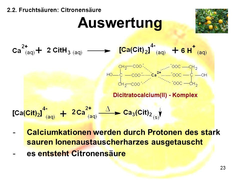 23 2.2. Fruchtsäuren: Citronensäure Auswertung Dicitratocalcium(II) - Komplex -Calciumkationen werden durch Protonen des stark sauren Ionenaustauscher