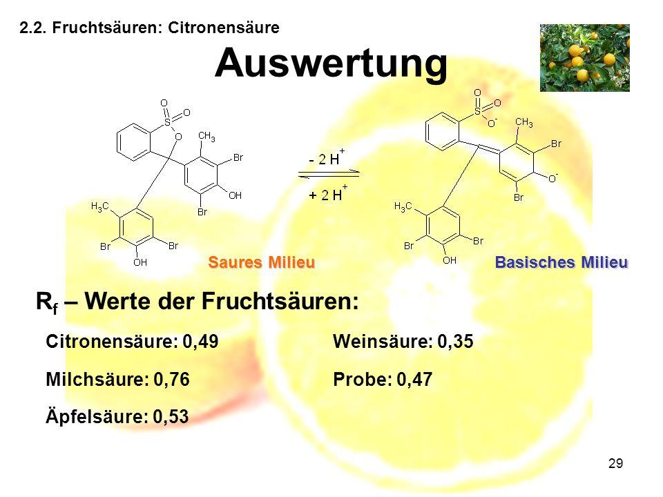 29 2.2. Fruchtsäuren: Citronensäure Auswertung R f – Werte der Fruchtsäuren: Saures Milieu Basisches Milieu Citronensäure: 0,49Weinsäure: 0,35 Milchsä