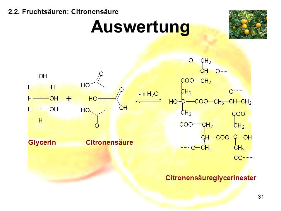 31 2.2. Fruchtsäuren: Citronensäure Auswertung GlycerinCitronensäure Citronensäureglycerinester