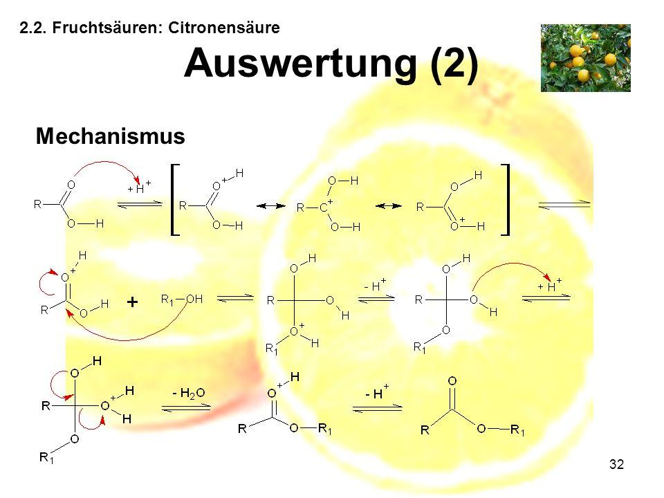 32 2.2. Fruchtsäuren: Citronensäure Auswertung (2) Mechanismus