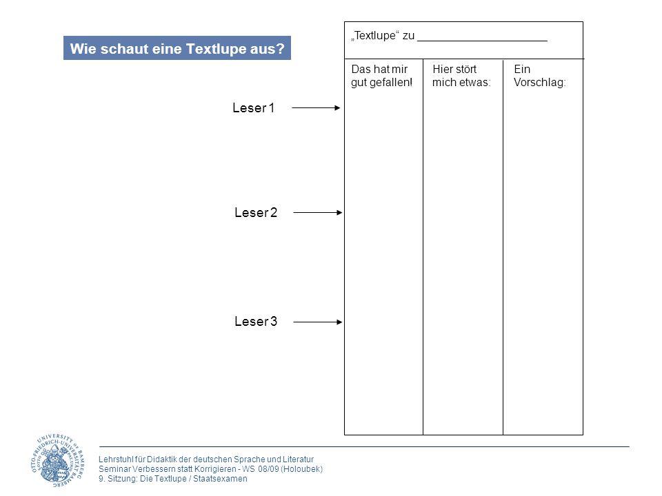 Lehrstuhl für Didaktik der deutschen Sprache und Literatur Seminar Verbessern statt Korrigieren - WS 08/09 (Holoubek) 9.