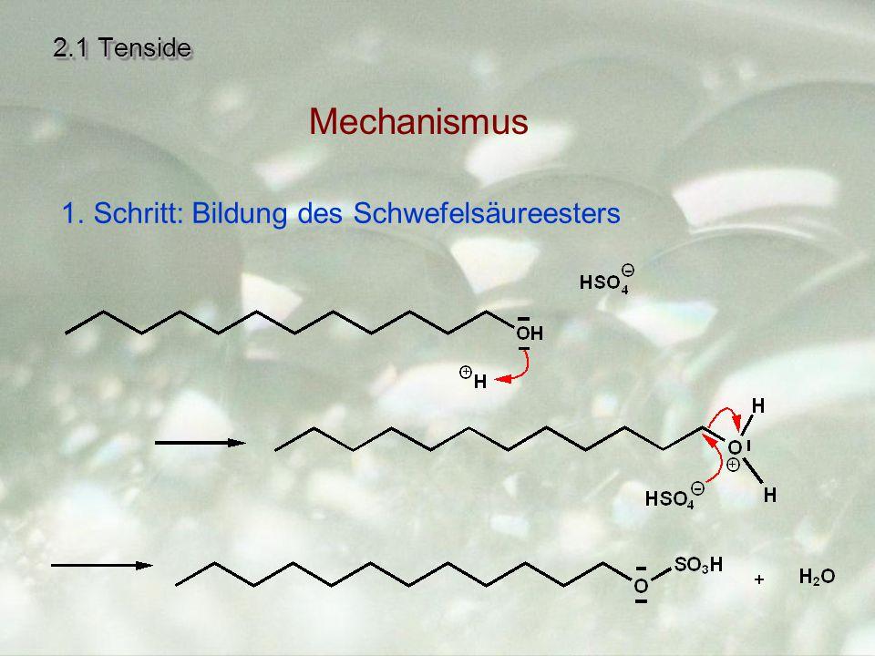 2.1 Tenside 1. 1.Schritt: Bildung des Schwefelsäureesters Mechanismus