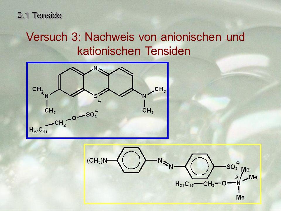 2.1 Tenside Versuch 3: Nachweis von anionischen und kationischen Tensiden
