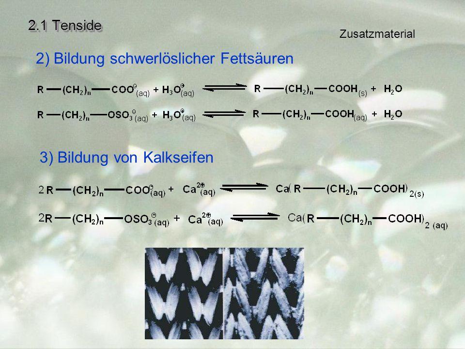 2.1 Tenside 2) Bildung schwerlöslicher Fettsäuren 3) Bildung von Kalkseifen Zusatzmaterial