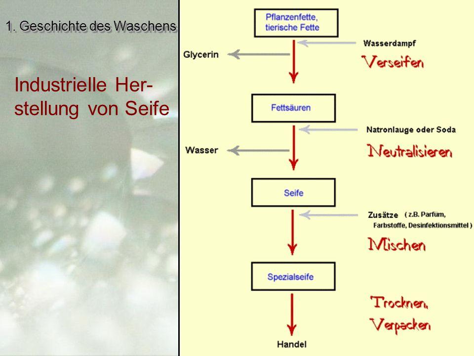 1. Geschichte des Waschens Industrielle Her- stellung von Seife