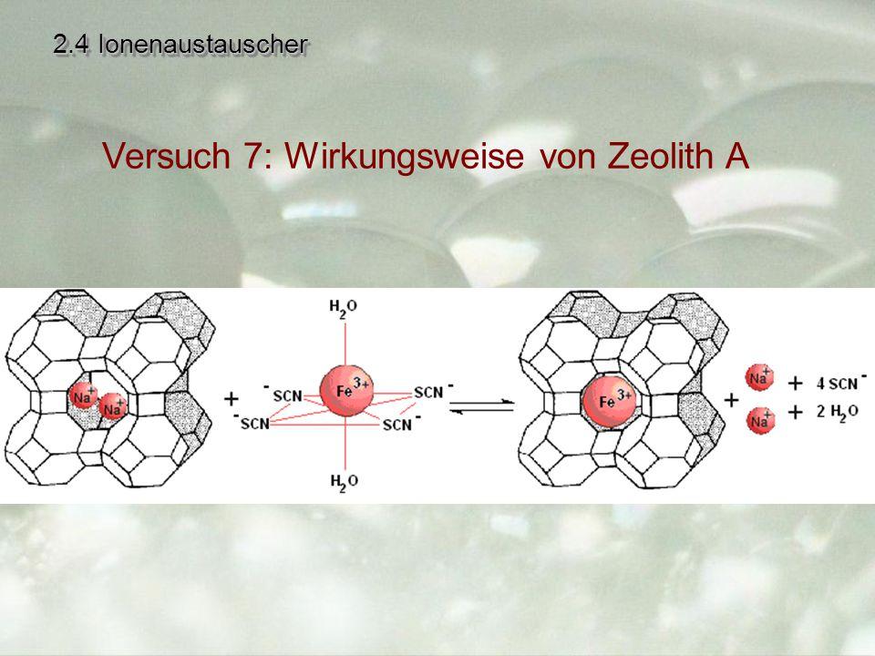 2.4 Ionenaustauscher Versuch 7: Wirkungsweise von Zeolith A