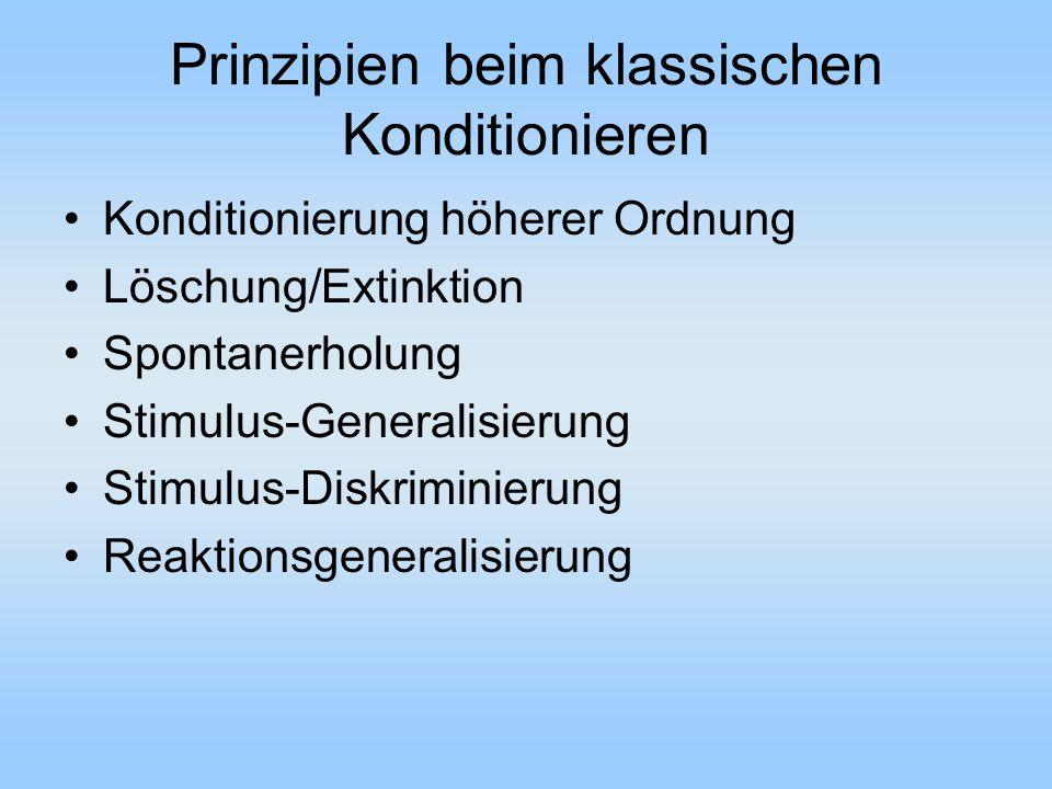 Prinzipien beim klassischen Konditionieren Konditionierung höherer Ordnung Löschung/Extinktion Spontanerholung Stimulus-Generalisierung Stimulus-Diskriminierung Reaktionsgeneralisierung