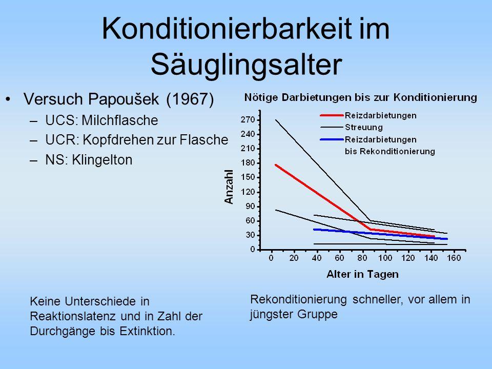 Konditionierbarkeit im Säuglingsalter Versuch Papoušek (1967) –UCS: Milchflasche –UCR: Kopfdrehen zur Flasche –NS: Klingelton Keine Unterschiede in Reaktionslatenz und in Zahl der Durchgänge bis Extinktion.