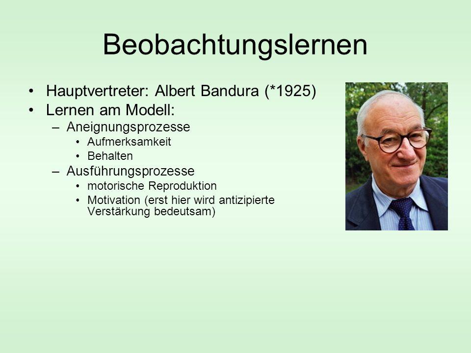 Beobachtungslernen Hauptvertreter: Albert Bandura (*1925) Lernen am Modell: –Aneignungsprozesse Aufmerksamkeit Behalten –Ausführungsprozesse motorische Reproduktion Motivation (erst hier wird antizipierte Verstärkung bedeutsam)