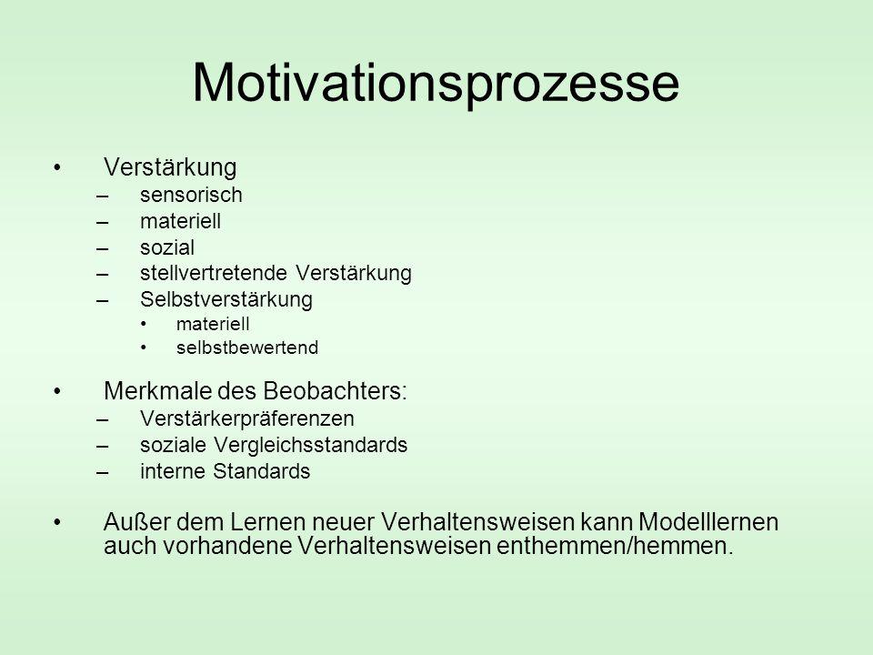 Motivationsprozesse Verstärkung –sensorisch –materiell –sozial –stellvertretende Verstärkung –Selbstverstärkung materiell selbstbewertend Merkmale des