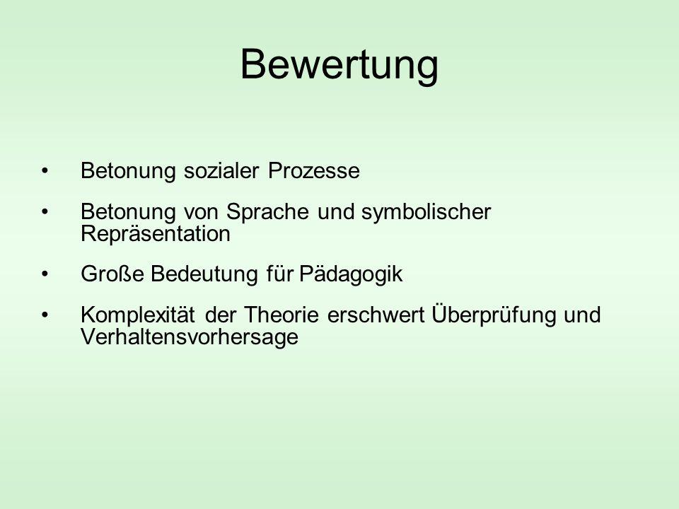 Bewertung Betonung sozialer Prozesse Betonung von Sprache und symbolischer Repräsentation Große Bedeutung für Pädagogik Komplexität der Theorie erschwert Überprüfung und Verhaltensvorhersage