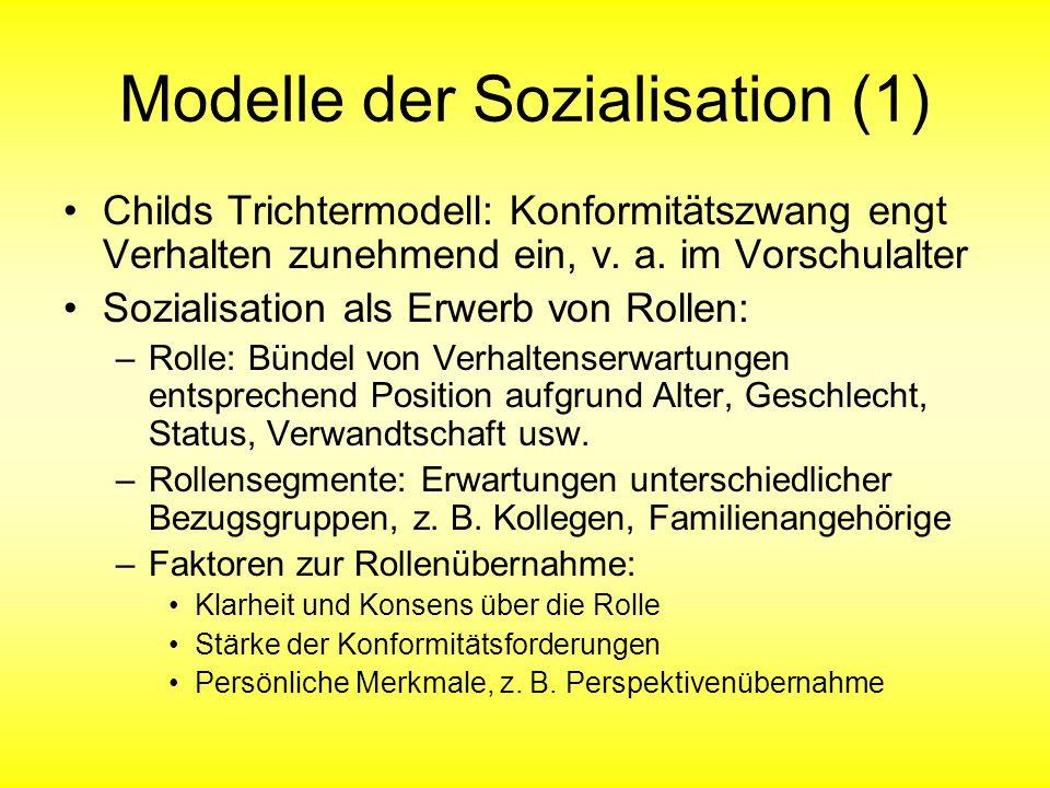 Modelle der Sozialisation (1) Childs Trichtermodell: Konformitätszwang engt Verhalten zunehmend ein, v. a. im Vorschulalter Sozialisation als Erwerb v