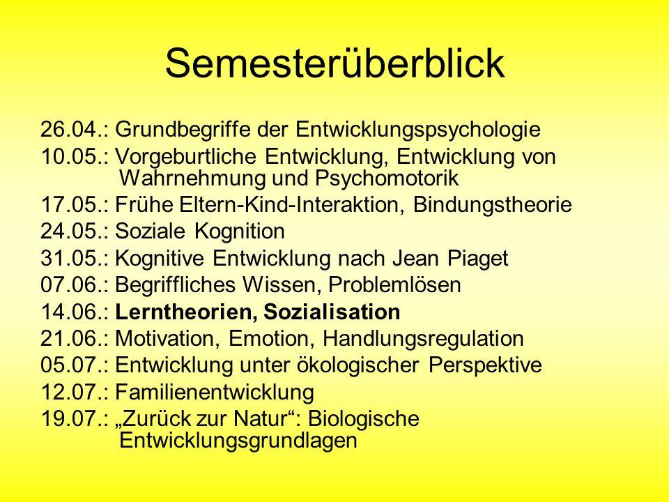 Modelle der Sozialisation (2) Sozialisation als Abfolge von Entwicklungsaufgaben (Havighurst, 1948): Für jedes Alter Entwicklungsziele, die z.