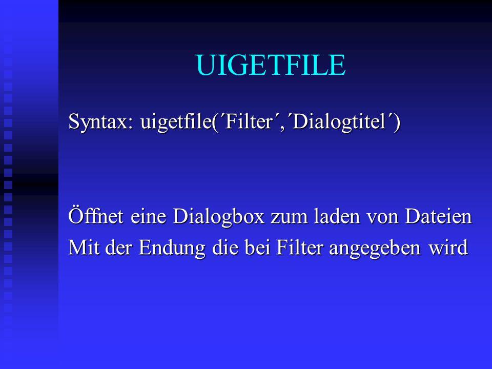 UIGETFILE Syntax: uigetfile(´Filter´,´Dialogtitel´) Öffnet eine Dialogbox zum laden von Dateien Mit der Endung die bei Filter angegeben wird