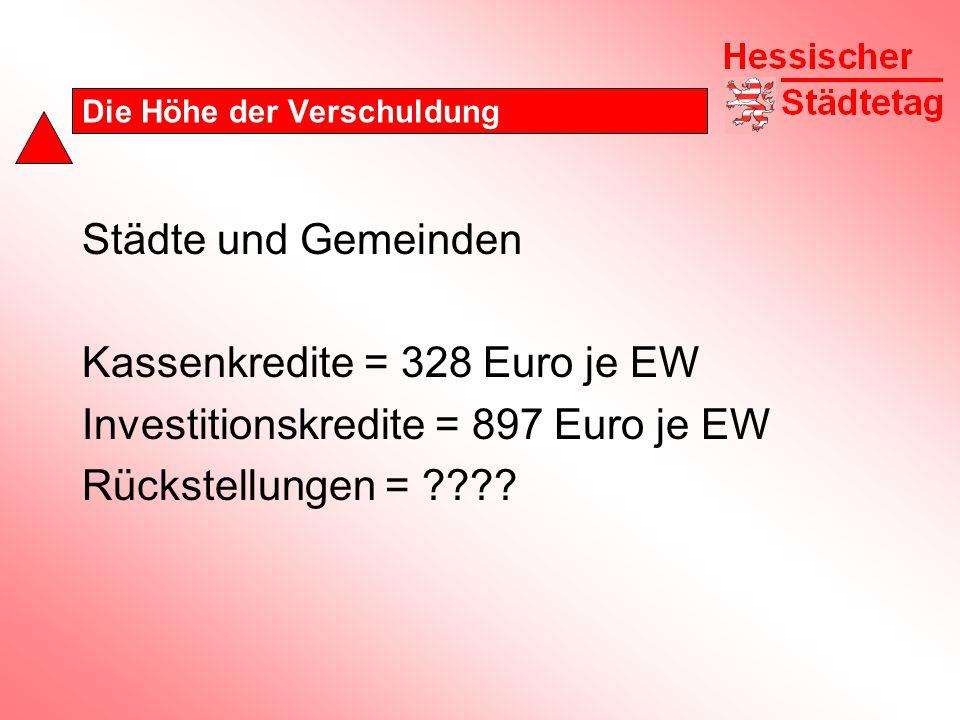 Die Höhe der Verschuldung Städte und Gemeinden Kassenkredite = 328 Euro je EW Investitionskredite = 897 Euro je EW Rückstellungen = ????