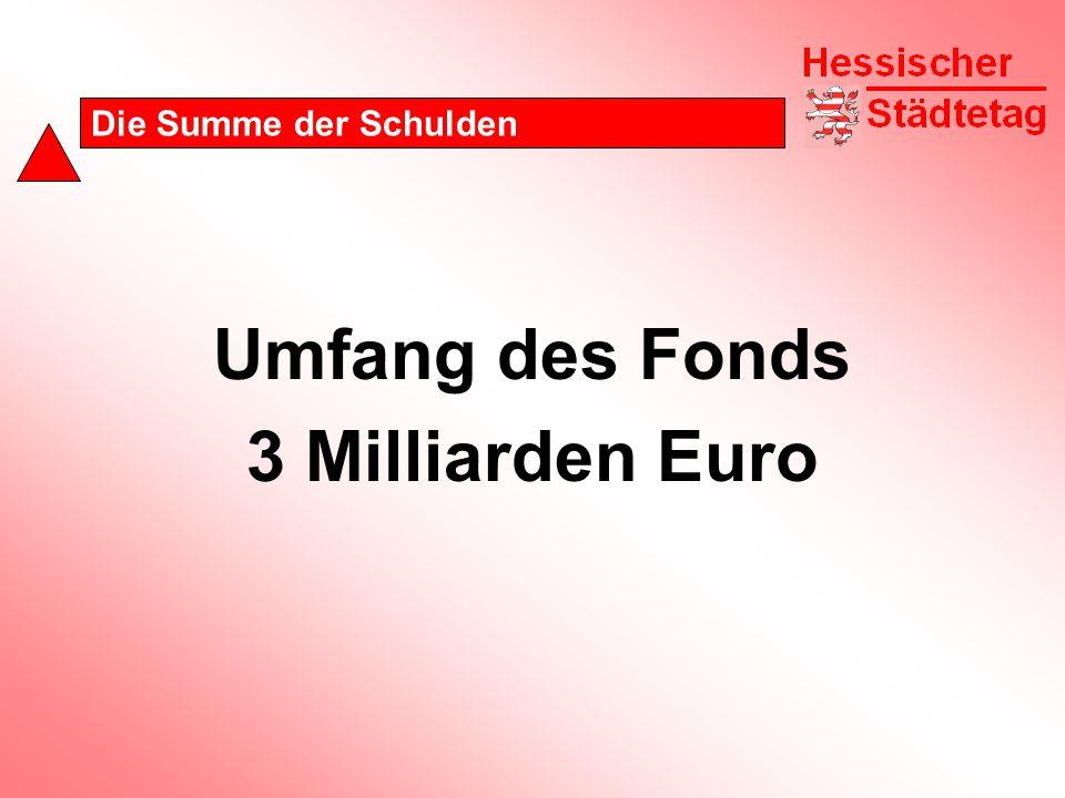 Die Summe der Schulden Umfang des Fonds 3 Milliarden Euro