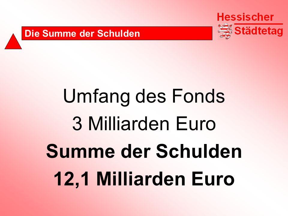 Die Summe der Schulden Umfang des Fonds 3 Milliarden Euro Summe der Schulden 12,1 Milliarden Euro