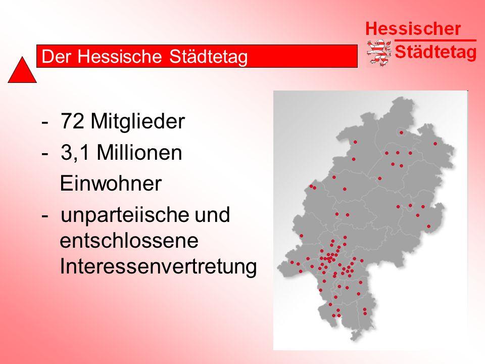 Der Hessische Städtetag - 72 Mitglieder - 3,1 Millionen Einwohner - unparteiische und entschlossene Interessenvertretung
