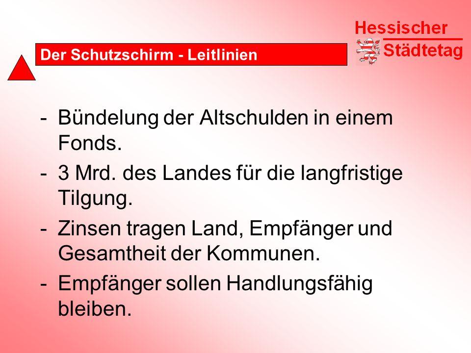 Der Schutzschirm - Leitlinien -Bündelung der Altschulden in einem Fonds.
