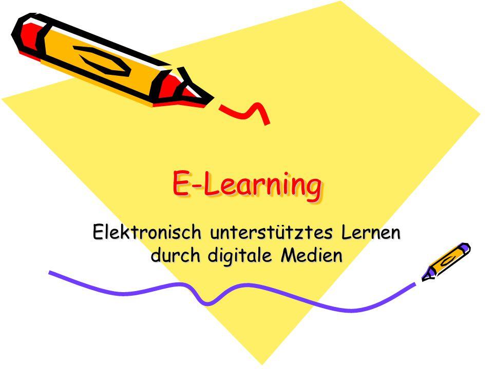Definition E-Learning ist basierend auf einem Netzwerk, das die Grundlage für sofortige Updates, Speicherungen, Abfragen, Verteilungen und die gemeinsame Benutzung von Unterrichtsmaterialien oder Informationen darstellt.