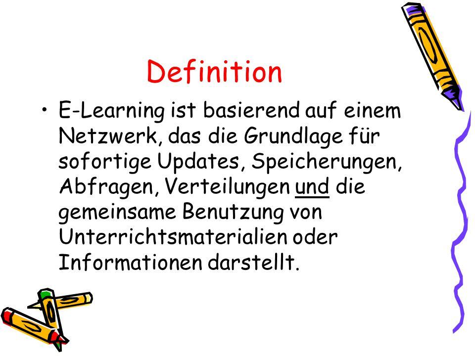 Definition E-Learning ist basierend auf einem Netzwerk, das die Grundlage für sofortige Updates, Speicherungen, Abfragen, Verteilungen und die gemeins