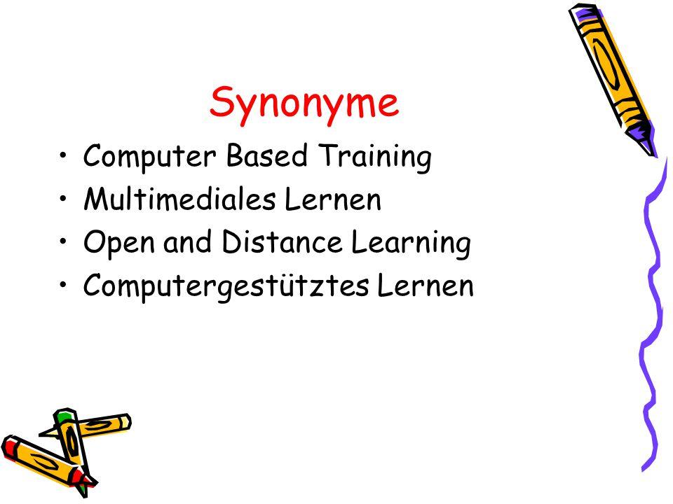 E-Learning und damit verbundene Techniken 1)Web- und Computerbasierte Trainingsanwendungen CBT (Computer Based Training) WBT (Web Based Training)