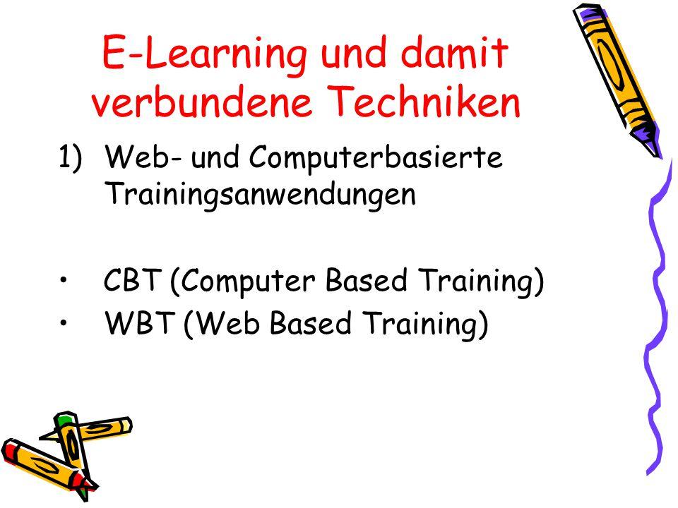 E-Learning und damit verbundene Techniken 2) Autorensysteme 3) Simulationen 4) Videokonferenz/ Teleteaching 5) Learning Management Systeme 6) Learning Content Management Systeme