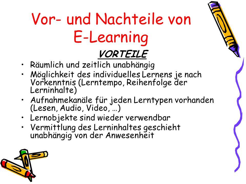 Vor- und Nachteile von E-Learning VORTEILE Räumlich und zeitlich unabhängig Möglichkeit des individuelles Lernens je nach Vorkenntnis (Lerntempo, Reih