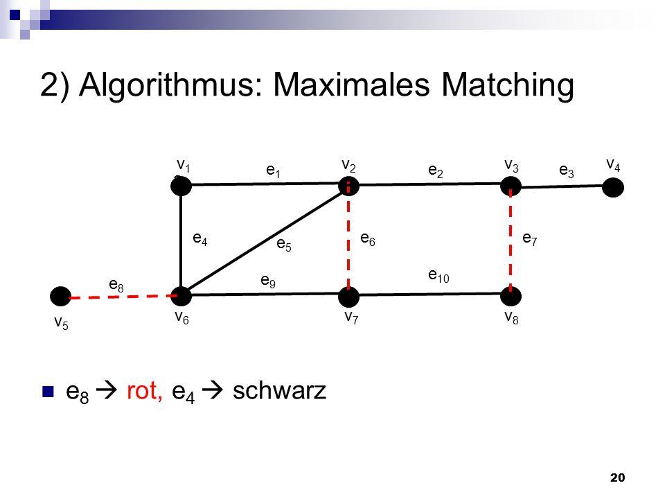 20 2) Algorithmus: Maximales Matching a e1e1 v1v1 v2v2 v3v3 v6v6 v7v7 v8v8 e2e2 e7e7 e6e6 e4e4 e8e8 e5e5 e 10 e9e9 v4v4 v5v5 e3e3 e 8  rot, e 4  schwarz