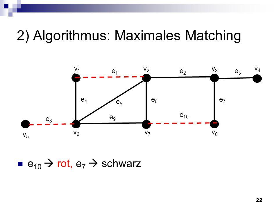 22 2) Algorithmus: Maximales Matching a e1e1 v1v1 v2v2 v3v3 v6v6 v7v7 v8v8 e2e2 e7e7 e6e6 e4e4 e8e8 e5e5 e 10 e9e9 v4v4 v5v5 e3e3 e 10  rot, e 7  schwarz