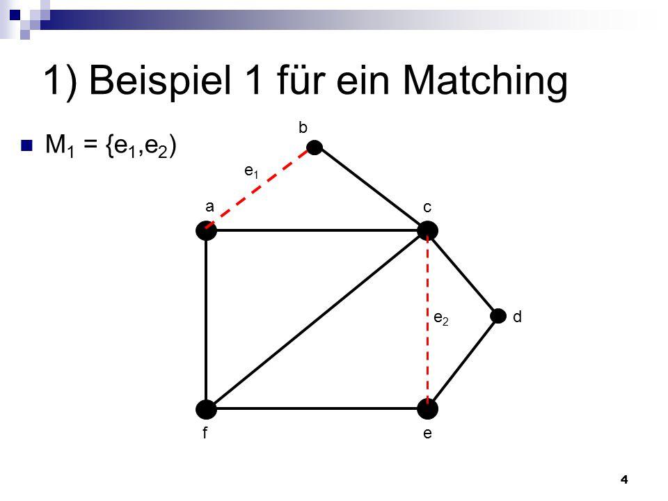 25 3) Das Personal-Zuteilungsproblem Geg.: Paarer Graph G mit V(G) = X U Y  Menge X = {x 1,...,x n } := Lehrer  Menge Y = {y 1,..., y n } := Klassen  Bei Qualifikation von x i  Kante zu y i Ziel: Matching in G, sodass jedes x i gesättigt wird Realisierung durch Ungarischen Algorithmus