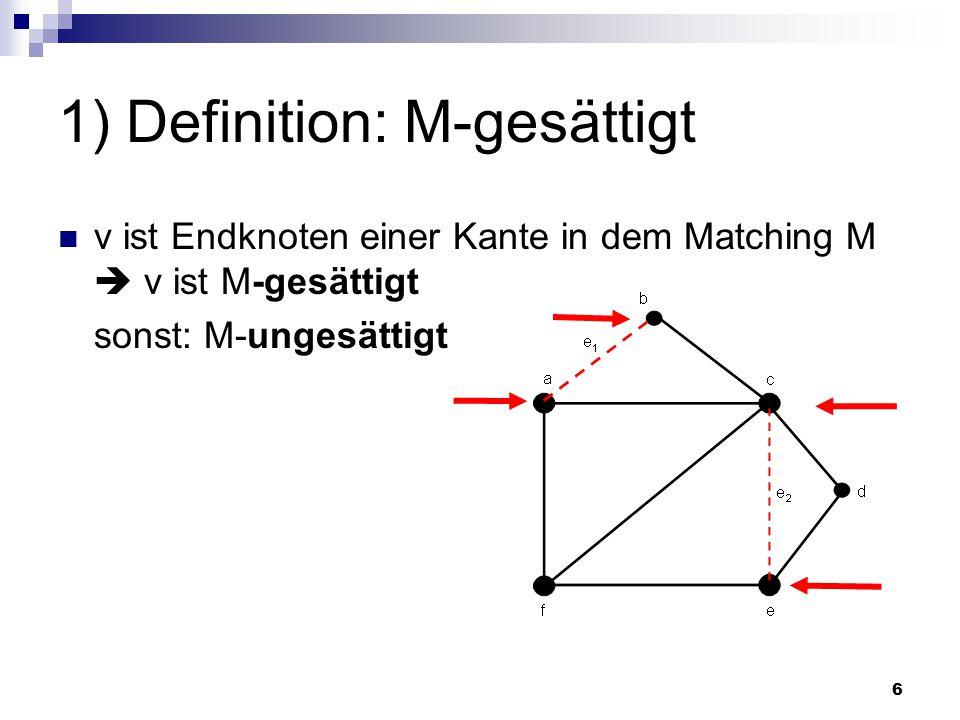 17 2) Algorithmus: Maximales Matching Geg.:  Beliebiges Matching M in G  Alle Kanten in M: dunkle Kanten  Alle Kanten in E\M: helle Kanten  P = M-erweiternder Weg (D.h.