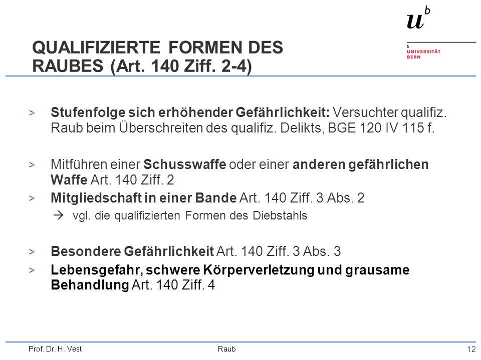 Raub 12 Prof. Dr. H. Vest QUALIFIZIERTE FORMEN DES RAUBES (Art. 140 Ziff. 2-4) > Stufenfolge sich erhöhender Gefährlichkeit: Versuchter qualifiz. Raub