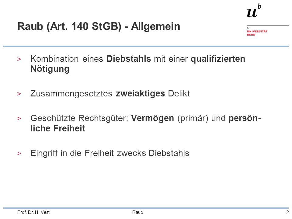 Raub 3 Prof.Dr. H. Vest Grundtatbestand (Art. 140 Ziff.