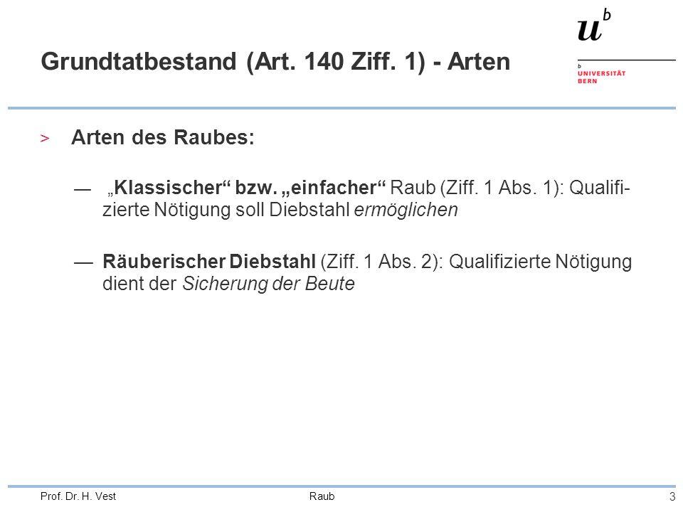 """Raub 3 Prof. Dr. H. Vest Grundtatbestand (Art. 140 Ziff. 1) - Arten > Arten des Raubes: — """"Klassischer"""" bzw. """"einfacher"""" Raub (Ziff. 1 Abs. 1): Qualif"""