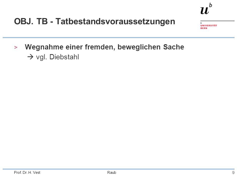 Raub 9 Prof. Dr. H. Vest OBJ. TB - Tatbestandsvoraussetzungen > Wegnahme einer fremden, beweglichen Sache  vgl. Diebstahl
