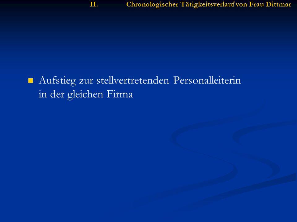 II.Chronologischer Tätigkeitsverlauf von Frau Dittmar Aufstieg zur stellvertretenden Personalleiterin in der gleichen Firma