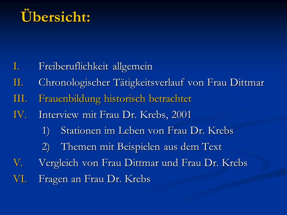 Übersicht: I.Freiberuflichkeit allgemein II.Chronologischer Tätigkeitsverlauf von Frau Dittmar III.Frauenbildung historisch betrachtet IV.Interview mit Frau Dr.