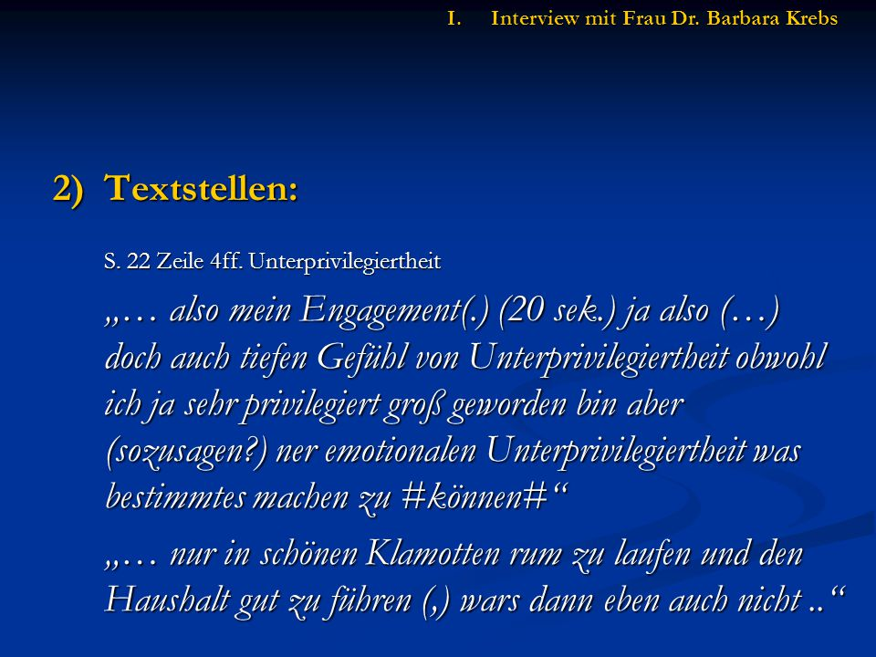2)Textstellen: S.22 Zeile 4ff.