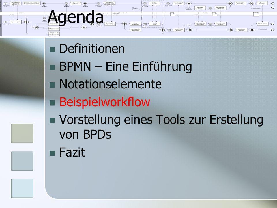 Agenda Definitionen BPMN – Eine Einführung Notationselemente Beispielworkflow Vorstellung eines Tools zur Erstellung von BPDs Fazit