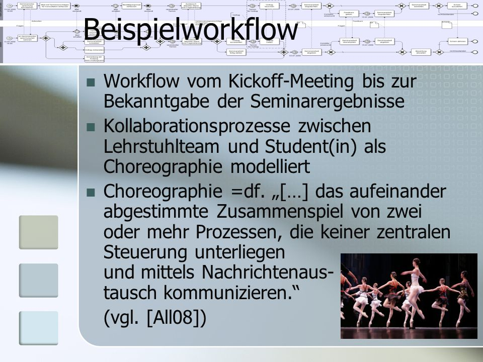 Beispielworkflow Workflow vom Kickoff-Meeting bis zur Bekanntgabe der Seminarergebnisse Kollaborationsprozesse zwischen Lehrstuhlteam und Student(in)