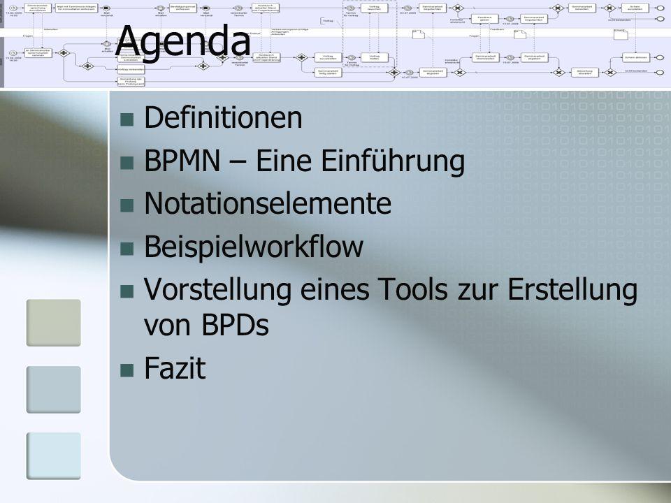 Definitionen BPMN – Eine Einführung Notationselemente Beispielworkflow Vorstellung eines Tools zur Erstellung von BPDs Fazit Agenda