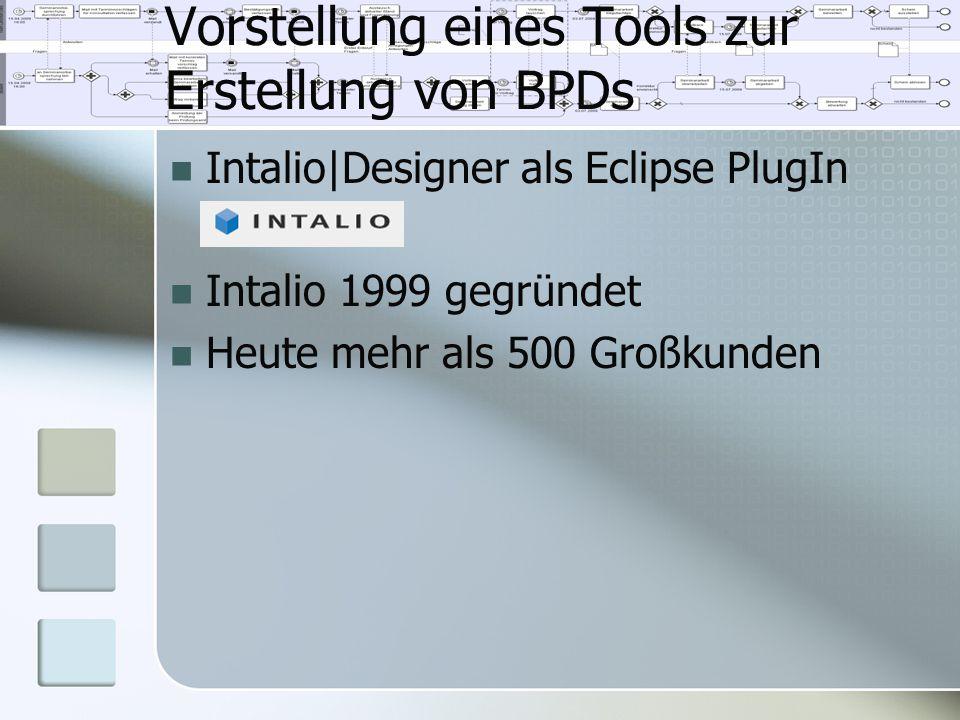 Vorstellung eines Tools zur Erstellung von BPDs Intalio Designer als Eclipse PlugIn Intalio 1999 gegründet Heute mehr als 500 Großkunden
