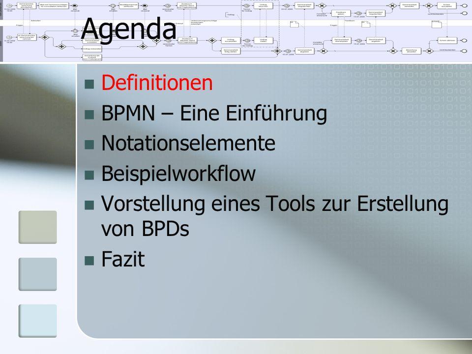 Definitionen BPMN – Eine Einführung Notationselemente Beispielworkflow Vorstellung eines Tools zur Erstellung von BPDs Fazit