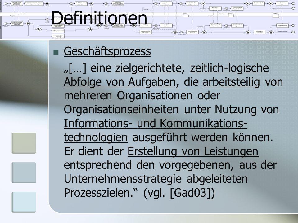 """Definitionen Geschäftsprozess """"[…] eine zielgerichtete, zeitlich-logische Abfolge von Aufgaben, die arbeitsteilig von mehreren Organisationen oder Org"""