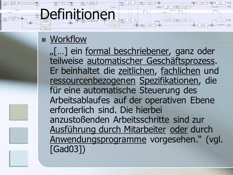 """Definitionen Workflow """"[…] ein formal beschriebener, ganz oder teilweise automatischer Geschäftsprozess. Er beinhaltet die zeitlichen, fachlichen und"""