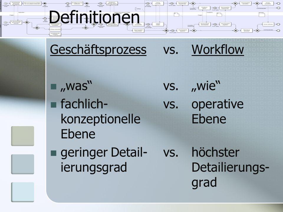 """Definitionen Geschäftsprozessvs.Workflow """"was""""vs.""""wie"""" fachlich-vs.operative konzeptionelleEbene Ebene geringer Detail-vs.höchster ierungsgradDetailie"""
