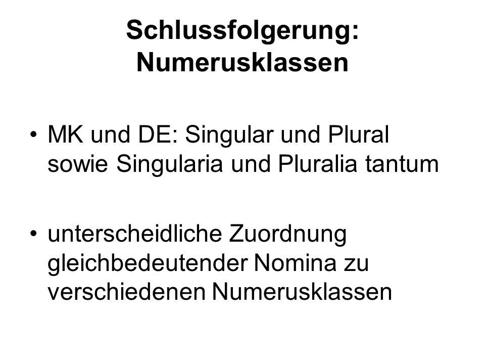 Schlussfolgerung: Numerusklassen MK und DE: Singular und Plural sowie Singularia und Pluralia tantum unterscheidliche Zuordnung gleichbedeutender Nomi